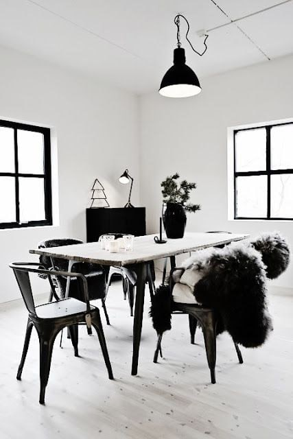 Raw timber table tops and charcoal fur throws lives happily ever after with  black Tolix chairs.